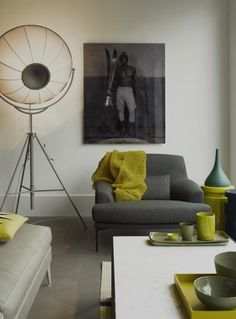 baden baden interiors. Love the green accents.