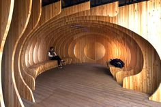 UTAA Carves a Wooden Ribbed Rest Spot from a Former Parking Lot in Seoul utaa rest hole – Inhabitat - Green Design, Innovation, Architecture, Green Building Architecture Paramétrique, Organic Architecture, Architecture Student, University Architecture, Architecture Diagrams, Commercial Architecture, Architecture Portfolio, Parametrisches Design, Design Firms