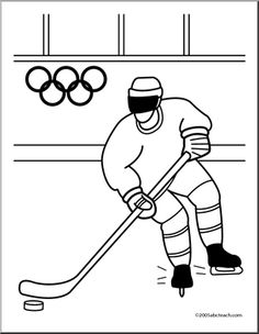Coloring Page: Olympics - Ice Hockey (cute) - Cartoon polar bear playing ice hockey coloring page in black and white. Combine this winter Olympic illustration with the other cartoon images of animas participating in Olympic events to make a book. Kids Olympics, Winter Olympics, Olympic Crafts, Olympic Games, Cartoon Images, Cute Cartoon, Hockey Posters, People Coloring Pages, Too Cool For School