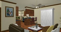 Rendering of the living room and kitchen of plan HDC-1327A-5 from http://www.homedesigncentral.com/detail.php?planid=HDC-1327A-5.