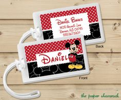 Mickey Mouse  Luggage Tag Bag Tag Backpack Tag by ThePaperShamrock, $5.00