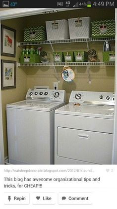 Laundry organizer; Remove the cabinets and add shelving for more laundry items