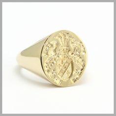 Seal Engraved Family Crest Signet Ring Handmade Bespoke Gold Platinum Palladium Contemporary Signet Ring