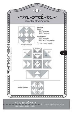 Moda Sampler Block Shuffle - Block #7 by Primitive Gatherings.