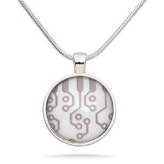 ThinkGeek :: White Circuit Trace Necklace.  I require this.  It even matches my tattoo!
