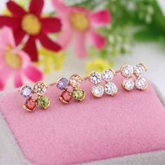 5mm 18K Gold Plated Fashion Flower Inlaid Zircon Ladies Copper Earrings