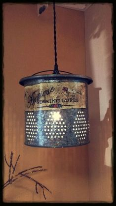 antique bait bucket lighting - Yahoo Search Results Cabin Lighting, Rustic Lighting, Home Lighting, Lighting Design, Lighting Ideas, Kitchen Lighting, Rustic Style, Rustic Decor, Farmhouse Decor