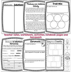Foss Mixtures And Solutions Worksheets: mixtures solutions