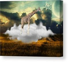 Giraffe Canvas Print featuring the mixed media High by Marvin Blaine