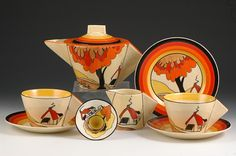 Andrew Muir | Clarice Cliff, Art Deco Pottery, Moorcroft and 20th Century Ceramics DealerHOUSE & BRIDGE CONICAL TEASET C.1931