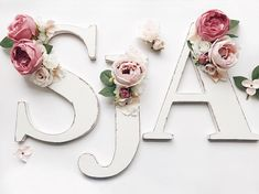 Distressed floral letter, rustic wood floral name initials, wooden floral monogram letters, floral nursery room decor, bridal shower and baby shower decor