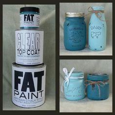 These jars and dairy bottle were painted with Robin's Egg and Peacock. After they were distressed I sealed them with Clear Coat. #kjcreations #fatpaint #diy #shabbychic #cuteness #crafts #farmhousechic #homedecor #paintinglife #loveit #masonjars #milkbottle #rustic Upcycling Projects, Robins Egg, Farmhouse Chic, Peacock, Mason Jars, Upcycle, Artisan, Shabby Chic, Dairy