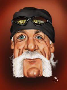 Hulk Hogan Raw Wrestling, Wrestling Divas, Million Dollar Extreme, Wwe Wallpapers, Hulk Hogan, Celebrity Caricatures, Funny Illustration, Crop Top Bikini, Star Art