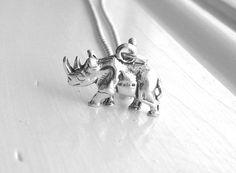 #Rhino Necklace #Rhinoceros Necklace Rhino by GirlBurkeStudios