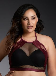"""<div>A brand new style that you (and your S.O.) will love. This stretchy-soft and sexy black mesh bralette is fashioned into an on-trend adjustable halter style and trimmed with ooh-la-la merlot lace. Totally sheer, you can sport this wireless style solo, or with our Push Up Multi-Way Bra for optimal cleavage and comfort. Super cool when paired with how-low-can-you-go necklines.</div><div><ul><li style=""""LIST-STYLE-POSITION: outside !important; LIST-ST..."""