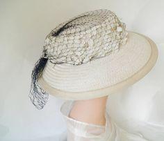 1940s tilt hat vintage front tilt with by TheVintageHatShop, $40.00