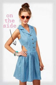 cutout side chambray dress {perfect for a summer bbq or a day of shopping}