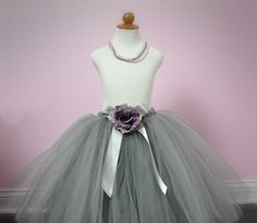#TGG Silver Gray Flower Girl Tutu or Dress with Dusty Lavender Rose by PoshBabyStore.com - with white rose?