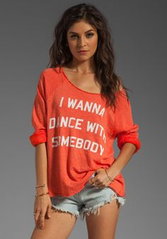 WILDFOX COUTURE Dance with Somebody Off the Shoulder Sweatshirt in Valley Heat