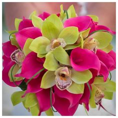 destin wedding  bouquet pink and green orchids by Princess Wedding Co