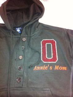 Custom rhinestone apparel by monogramthat.com. Call or email us if you want something customized for you! 248-572-6198 info@monogramthat.com   This was done for an Ohio State mom!