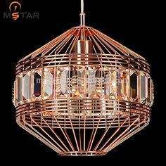 Modern Art design Birdcage single Crystal Metal Pendant Lighting