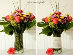 "Glass Flower Vase Cover ~ Great tutorial from Wearing High Heels blog- ""Whether on the receiving end or the giving end of flowers, this quick and easy glass vase cover will make any bouquet of flowers even more beautiful."""