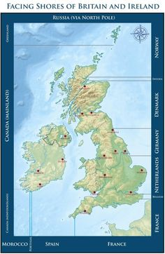 Here's what you're facing when you stand on the coast of Britain and Ireland. 21 Maps That Will Change How You Think About Britain Old World Maps, Old Maps, Cairns, Map Of Great Britain, Map Globe, World Geography, Vintage Maps, Antique Maps, Historical Maps