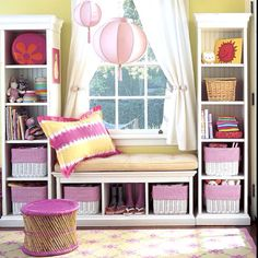 1 Kindesign's collection of 63 Incredibly cozy and inspiring window seat ideas will help inspire your search for the perfect ideas on designing your own window seat. Designing a window seat… Girl Room, Girls Bedroom, Baby Room, Bedroom Ideas, Diy Bedroom, Trendy Bedroom, Nursery Ideas, Nursery Decor, Childrens Bedroom