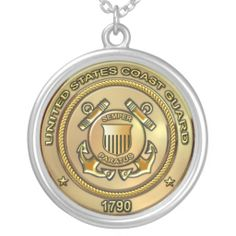 US Coast Guard Sterling Silver Plate Necklace