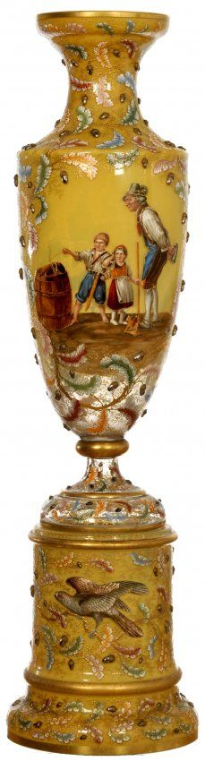 MUSEUM QUALITY SIGNED MOSER TWO PART PEDESTAL  VASE,YELLOW OPAQUE BACKGROUND WITH EXTENSIVE MULTI-COLOR LEAF AND APPLIED ACORN DECOR - VASE FEATURES FINEST QUALITY HANDPAINTED ENAMEL SCENE.