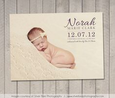 Birth Announcement Card / Magnet Printable by vintagesweetdesign