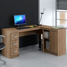 Mesa de Escritório Kit Espanha Castanho 2 portas e 3 gavetas Home Office, Office Desk, Pc Desk, Woodworking Furniture Plans, Organization Hacks, My Room, Corner Desk, Sweet Home, House Design