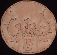 Primitive Stitchery Candle Mat PATTERN Valentine by thetalkingcrow