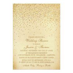 Vintage Glam Gold Confetti Wedding Shower