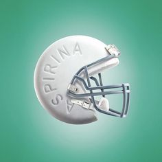 This clever design combines an aspirin pill and a football helmet. Anyone who can recognize a football helmet will understand this design.