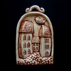 Pottery Houses, Ceramic Houses, Ceramic Clay, Christmas Time, Christmas Ornaments, Pottery Classes, House Doors, Flower Oil, Water Flowers