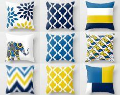 Throw Pillow Covers Navy Yellow White Cobalt Pillow Typography Art Contemporary Decor Throw Pillow Covers Decorative Pillows - Home Decorations Living Room Pillows, Couch Pillows, Living Room Decor, Cushions, Pillow Cover Design, Throw Pillow Covers, Rideaux Design, Contemporary Decor, Room Colors