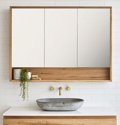 Loughlin Furniture Timber Shaving Cabinet with 3 Doors and Niche Shelf + concret. Loughlin Furniture Timber Shaving Cabinet with 3 Doors and Niche Shelf + concrete basin Bathroom Sink Bowls, Bathroom Mirror Design, Bathroom Mirror Cabinet, Mirror Cabinets, Laundry In Bathroom, Bathroom Interior Design, Bathroom Storage, Modern Bathroom, Small Bathroom