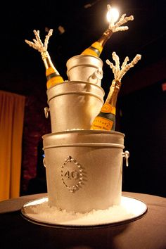 Veuve Cliquot Cake - the ultimate birthday cake. As long as the bottles are real!