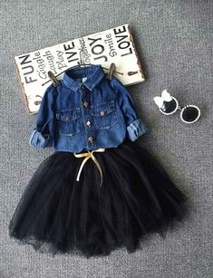 Buy Toddler Baby Girls Outfits denim shirt+Black tutu Skirt Kids Clothes Set at Wish - Shopping Made FunOur Autumn girls 2 piece Baby Outfits, Girls Fall Outfits, Tutu Outfits, Little Girl Outfits, Little Girl Fashion, Toddler Girl Outfits, Toddler Fashion, Fashion Kids, Nice Outfits