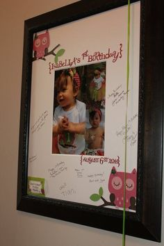 Signature Frame Owl Birthday Party......♥ frame & lots of other ideas for an owl themed birthday party.