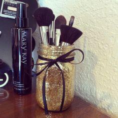 DIY Gold Glitter Mason Jar Mary Kay brush display.