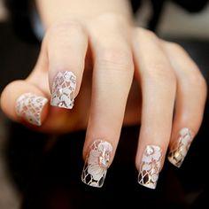 Nail art 3D Sticker False Natural Nails Full Nail Tips Self Adhesive Manicure Decoration 16 Mix Design Pattern Flower Strips Crystal Diamond AOSTEK(TM) (7): Health & Personal Care