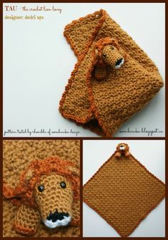 Free Crochet Pattern   Tau the Lion Lovie   Designed by Dedri Uys of Look At What I Made #freepattern #crochet