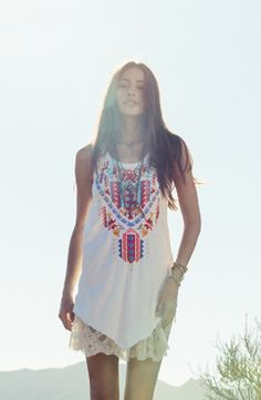 Cute little boho dress.  Johnny Was JWLA / 3J Workshop Spring 2014 Lookbook