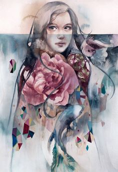 Valerie Chua is an illustrator and painter from the Philippines known for her delicate and ethereal approach to watercolor and oil painting. Watercolor Face, Watercolor Texture, Watercolor Paintings, Watercolours, What Is Contemporary Art, Christian Louboutin, Cow Art, Mixed Media Canvas, Beauty Art