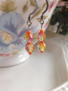 Earrings ~ Flame Facetted Beads ~ drop earrings ~ gun metal earrings hooks by Nerdacious on Etsy