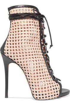 Giuseppe Zanotti - Laser-cut Leather Ankle Boots - Beige - IT