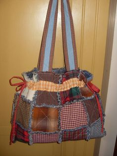 Ready to Ship rag quilt purse homespun and denim by gabbygirlo
